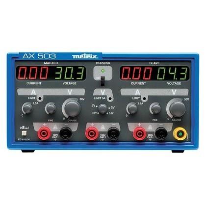 000.Electricité / ElectroniqueAX503 - Alimentation de laboratoire triple 2x30V 2x2,5A 1x2,7Và5,5V 1x5A - METRIX