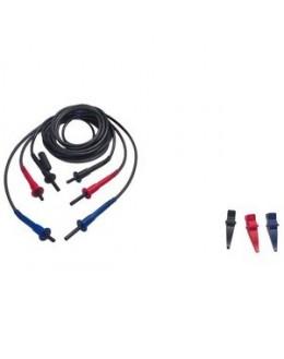 Cordons 3 mètres HT pince croco rouge, bleue, noire - CHAUVIN ARNOUX - P01295220 pour contrôleur d'isolement